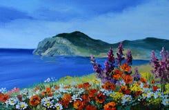 Olieverfschilderij - berg in het overzees, de overzeese kust, abstracte tekening royalty-vrije illustratie