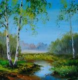 Olieverfschilderij - berk op het gebied dichtbij de rivier vector illustratie