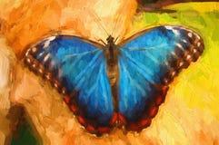 Olieverfschilderij blauwe vlinder Stock Afbeeldingen