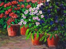 Olieverfschilderij - Bloeiende Bloemen Royalty-vrije Stock Fotografie