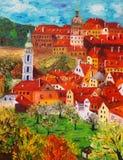 Olieverfschilderij - Cesky Krumlov, Tsjechische Republiek Royalty-vrije Stock Afbeeldingen
