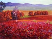 Olieverfschilderij - de Abstracte Rode Herfst Royalty-vrije Stock Foto's