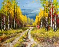 Olieverfschilderij - de gouden herfst Stock Afbeelding