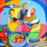 Olieverfschilderij Drie vrouwen Stock Afbeeldingen