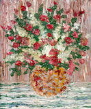 Olieverfschilderij. Een weelderig boeket van bloemen Stock Afbeelding