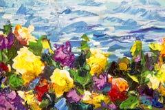Olieverfschilderij en het close-up van het paletmes Gele rode violette bloemen in een groen gras tegen een achtergrond van blauwe Royalty-vrije Stock Afbeeldingen