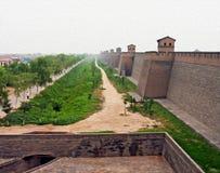Olieverfschilderij gestileerde foto van Pingyao-stadsmuren, China Royalty-vrije Stock Foto's
