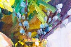 Olieverfschilderij, Impressionismestijl, bloem het schilderen, nog painti vector illustratie