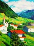 Olieverfschilderij - Kerk Stock Afbeeldingen