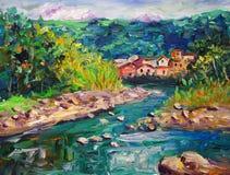 Olieverfschilderij - Landschap Stock Afbeelding