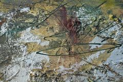 Olieverfschilderij met zilveren borstels Stock Foto