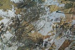 Olieverfschilderij met zilveren borstels en bruine tinten Royalty-vrije Stock Fotografie