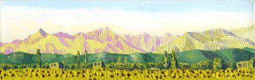 Olieverfschilderij op canvas De rand bij dageraad vector illustratie