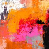 Olieverfschilderij op met de hand gemaakt canvas Abstracte kunsttextuur Kleurrijke textuur modern kunstwerk Slagen van vette verf royalty-vrije illustratie