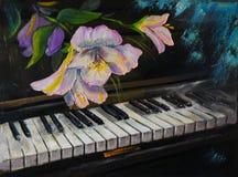 Olieverfschilderij - piano en bloemen, wijnoogst, kunstwerk vector illustratie