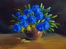 Olieverfschilderij - stilleven, een boeket van bloemen, wildflowers Stock Afbeelding