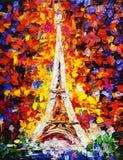 Olieverfschilderij - Toren Eiffel, Parijs Royalty-vrije Stock Foto