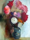 Olieverfschilderij van bloemen Stock Afbeelding