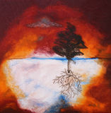 Olieverfschilderij van boom tegen zonsonderganghemel royalty-vrije stock foto's