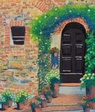 Olieverfschilderij van de boog het houten deur op canvas Royalty-vrije Stock Fotografie