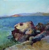 Olieverfschilderij van de overzeese stenen stock fotografie