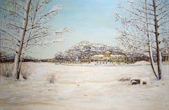 Olieverfschilderij van de winterlandschap Stock Afbeelding