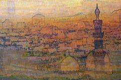 Olieverfschilderij van het oude Islamitische kwart Egypte van Kaïro royalty-vrije illustratie