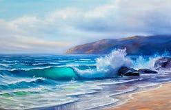 Olieverfschilderij van het overzees op canvas vector illustratie