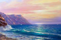 Olieverfschilderij van het overzees op canvas schets Stock Afbeelding