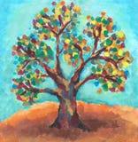 Olieverfschilderij van kleurrijke boom Royalty-vrije Stock Foto's
