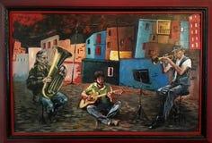 Olieverfschilderij van musici die op de straat spelen Royalty-vrije Stock Afbeeldingen