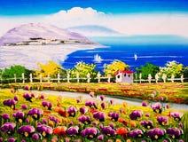 Olieverfschilderij - Zeekust met tot bloei komende bloemen stock foto