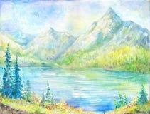 Olieverfschilderijberg stock illustratie