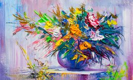 Olieverfschilderijbloemen Royalty-vrije Stock Foto