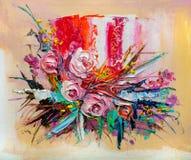 Olieverfschilderijbloemen Stock Foto