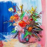 Olieverfschilderijbloemen Royalty-vrije Stock Fotografie