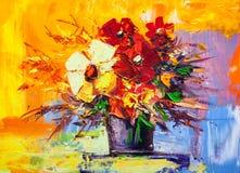 Olieverfschilderijbloemen Stock Foto's