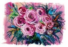 Olieverfschilderijbloemen Stock Afbeeldingen