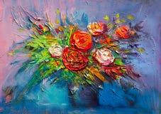 Olieverfschilderijbloemen Stock Afbeelding