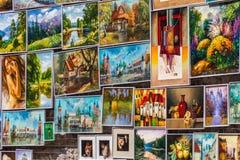 Olieverfschilderijen - Krakau (Krakau) - POLEN Royalty-vrije Stock Foto's