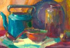 Olieverfschilderijen, stilleven met huiswerktuigen Stock Foto's