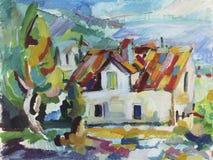 Olieverfschilderijhuis en olijven Stock Afbeeldingen