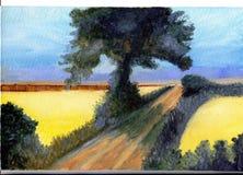 Olieverfschilderijlandschap Royalty-vrije Stock Afbeelding