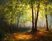 Olieverfschilderijlandschap - de zomer bos, kleurrijk abstract art. Stock Illustratie