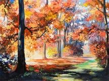 Olieverfschilderijlandschap - kleurrijk de herfstbos stock illustratie