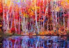 Olieverfschilderijlandschap - kleurrijke de herfstbomen Stock Afbeelding