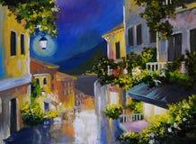 Olieverfschilderijlandschap - straat dichtbij het overzees, nachtstad, lantaarn Royalty-vrije Stock Foto's