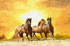 Olieverfschilderijpaard royalty-vrije illustratie