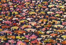 Olieverfschilderijtextuur op canvas met paletmes dat wordt gemaakt royalty-vrije illustratie