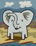 Olifant bij een Rivier Stock Afbeelding